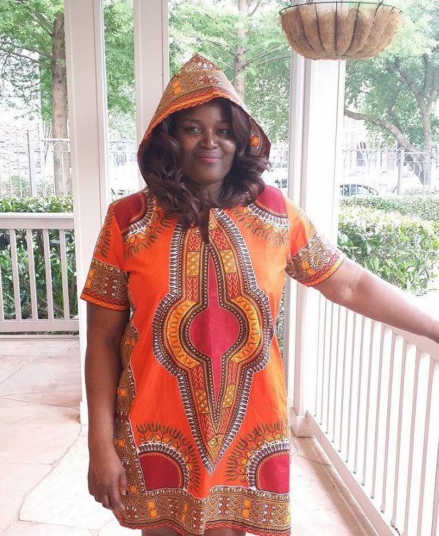 African print dashiki detail hooded plus size dress