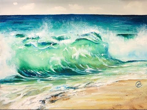 Watercolor Waves ROUGH Paper Painting Demonstration - YouTube