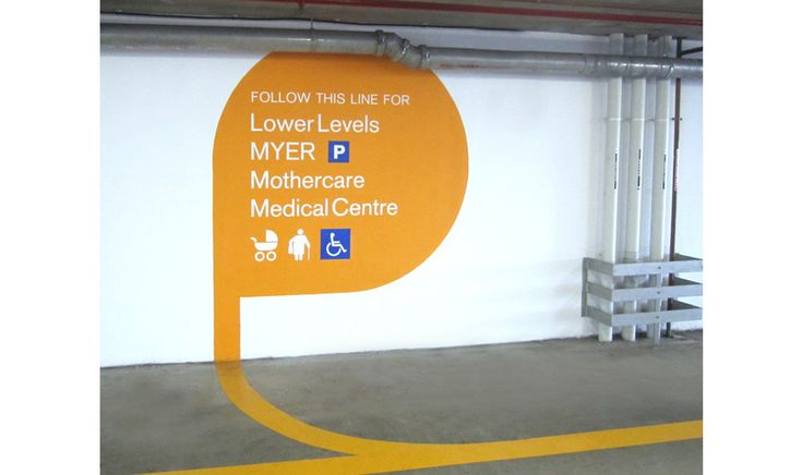 Singleton Moore Sign project for Top Ryde City car park signage, way finding, directional signage, traditional sign writing www.smsco.com.au