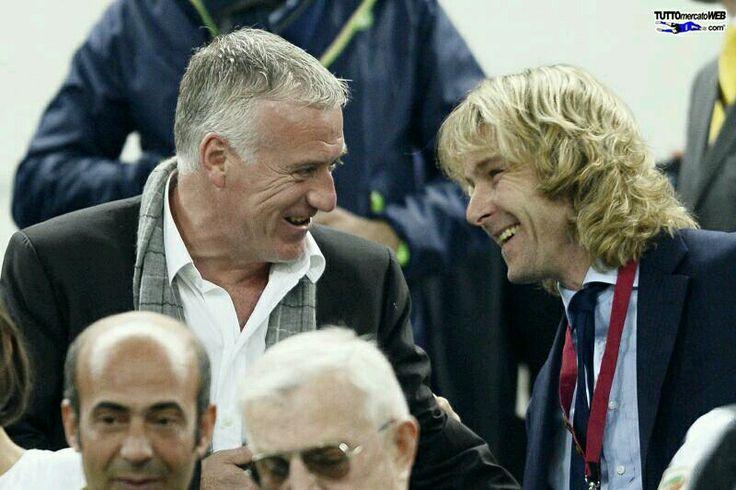 2 legends of juventus  Deschamps n nedved Leg 2 quarter final UEL  Juventus 2-1 lyon