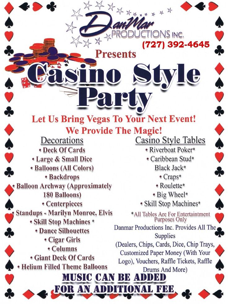 Image detail for -Casino Theme Party by DanMar Productions - DanMar Productions, Inc.