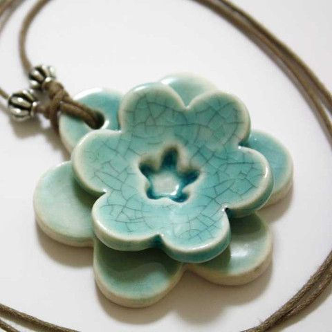 Unique hand-crafted ceramic double flower pendant in jade crackle glaze.