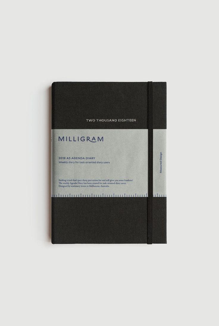 Buy Milligram - 2018 Agenda Diary - Weekly Notebook - A5 (22 x 15cm) - Black - Milligram Stationery. milligram.com