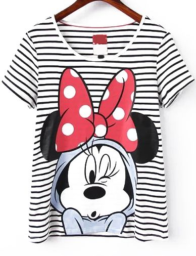 Mickey Mouse Print Striped T-shirt 14.17