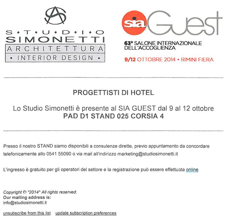 At Rimini Fiera from 9 to 12 October we are at SIA GUEST, Stand 025 - PAD 1 - CORSIA 4