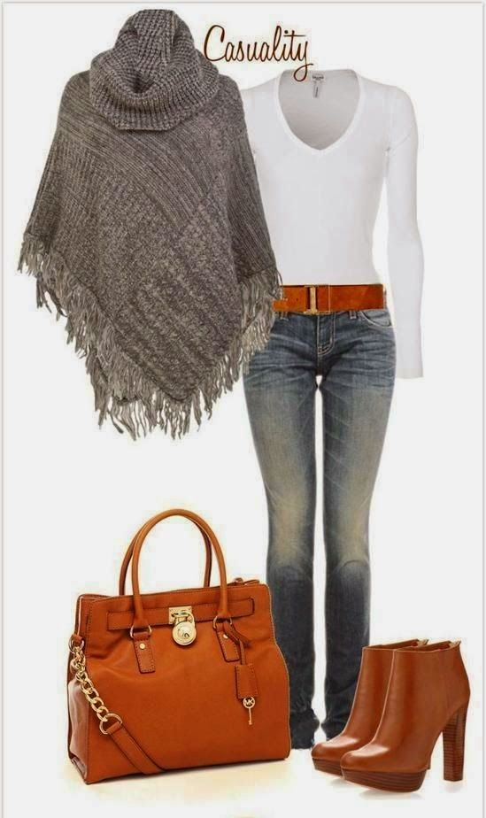 Fashion, Style and Beauty: Knitted Poncho With T-shirt And Long Jeans