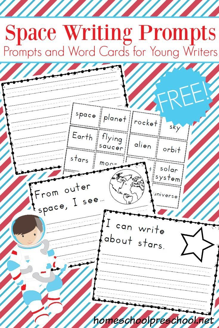 These space themed writing prompts are designed for emergent writers. The simple preschool writing prompts will give new writers confidence. They are out of this world! #homeschoolprek #prek #prekathome #spacetheme #writingprompts   https://homeschoolpreschool.net/preschool-writing-prompts-space/