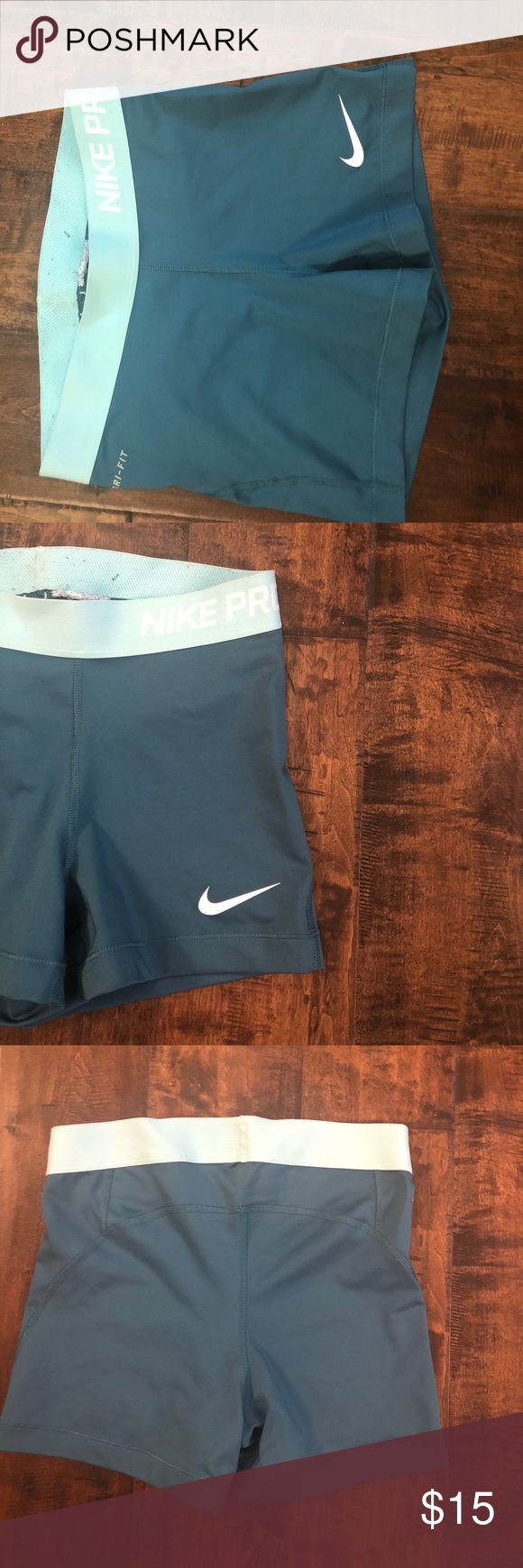 Teal, turquoise Nike compression shorts Super cute teal and turquoise say small Nike compression shorts Nike Shorts