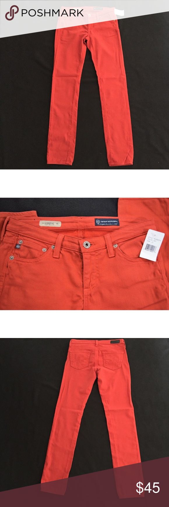 """NWT AG Adriano Goldschmied Orange Skinny Jeans AG Adriano Goldschmied Orange denim🔸The Legging Super Skinny Fit🔸Size 27🔸A beautiful dark orange color🔸Brand new with tags🔸98% cotton🔸Stretchy material🔸Inseam is approx 30.75""""🔸Sample piece🔸Smoke and pet free home AG Adriano Goldschmied Jeans Skinny"""
