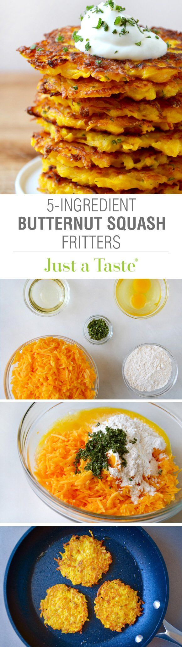 5-Ingredient Butternut Squash Fritters Recipe  Substitute coconut flour or almond flour and coconut oil for a healthier option.