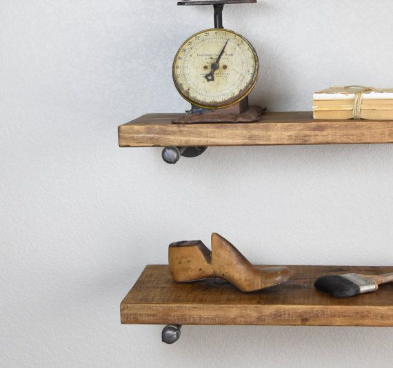 Floating Shelf Industrial with pipe supports. by HenryLewisHome