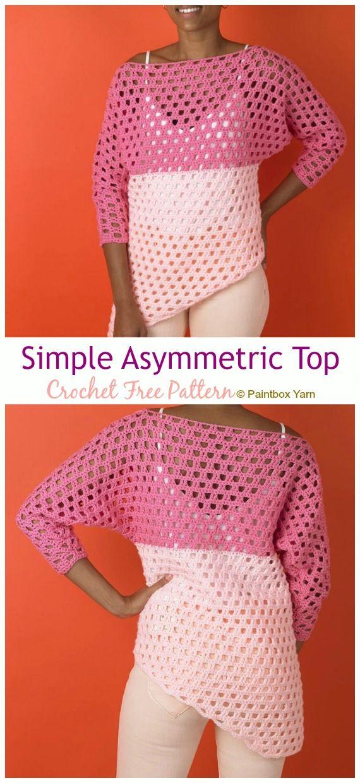 Crochet Asymmetrical Top Free Pattern & Video – Women Summer – Inspiration