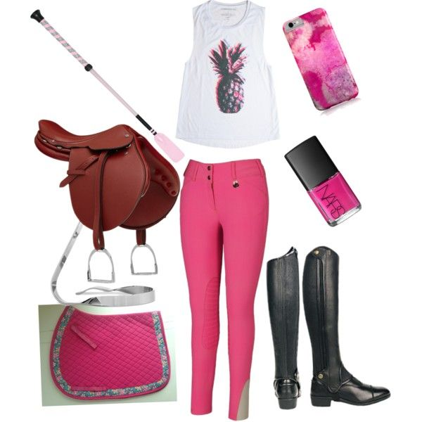 Pink riding outfit