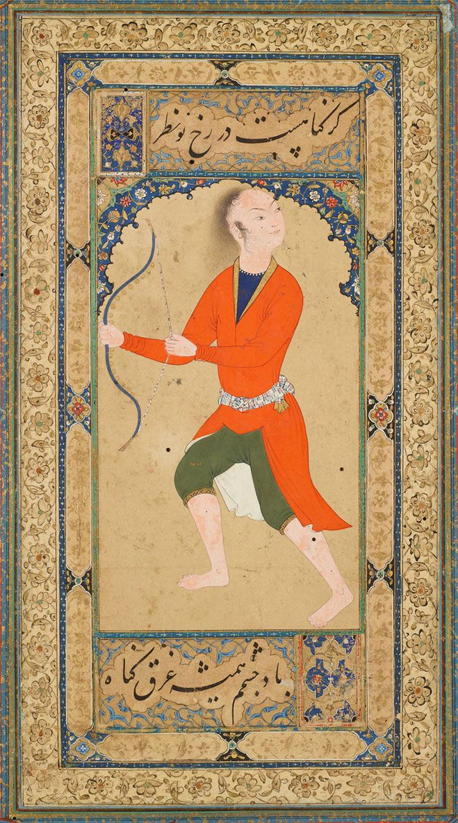 A Youth Flexing an Exercise Bow | Read Persian Album | Herat, Afghanistan | ca. 1600 | The Morgan Library & Museum