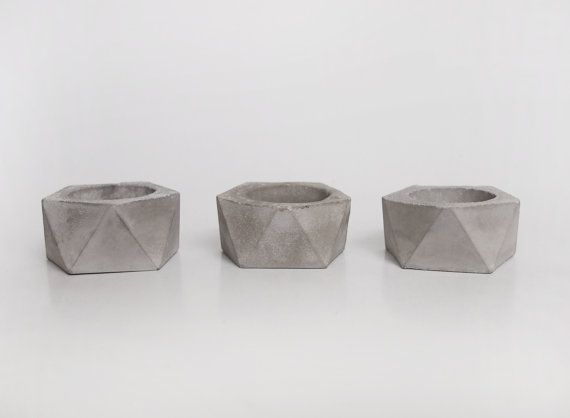 Geometric concrete candle holder puristic concrete by frauklarer