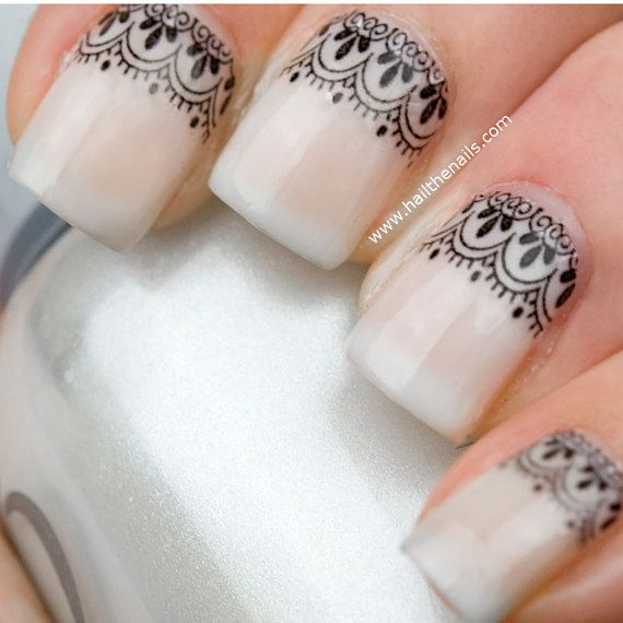 Black Lace  Nail Art Water Transfer Decal by Hailthenails on Etsy, £1.99