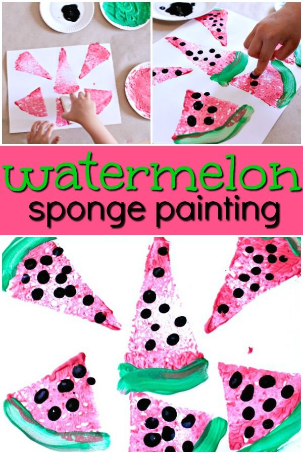 Watermelon Sponge Painting Preschool Art for a Summer Watermelon Theme via @Shaunnaevans via @shaunnaevans