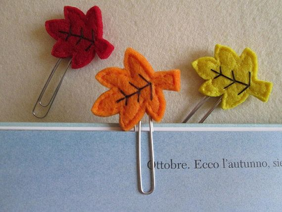 Leaves paper clips - Set of three paper clips - Fall Planner accessories - Felt bookmarks -