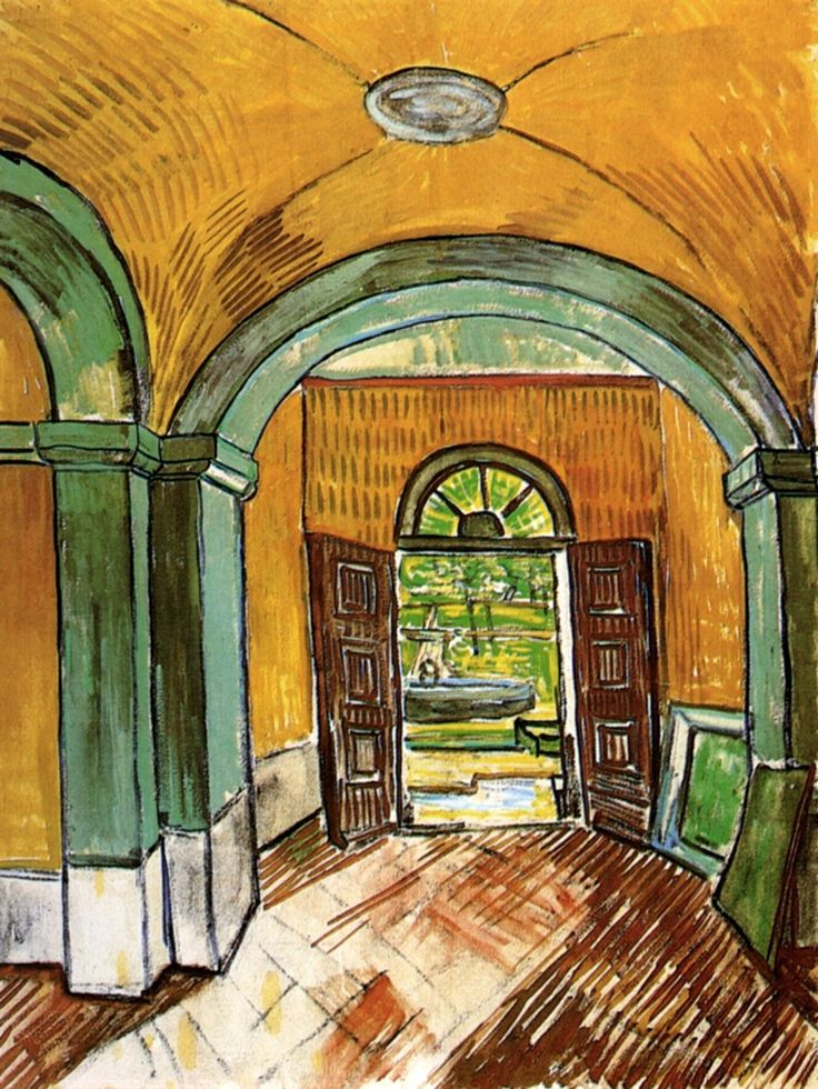The Entrance Hall of Saint-Paul Hospital - Vincent van Gogh, 1889