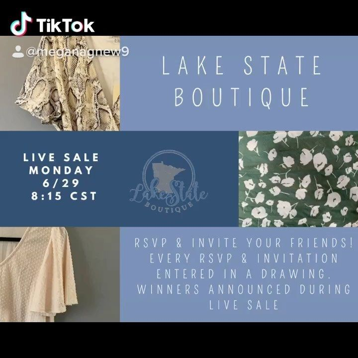 Lake State Boutique On Instagram Monday Night 8 15 We Are Having A Live Sale Rsvp On Facebook To Enter For A Drawing Invi Rsvp Invitations Invite Friends