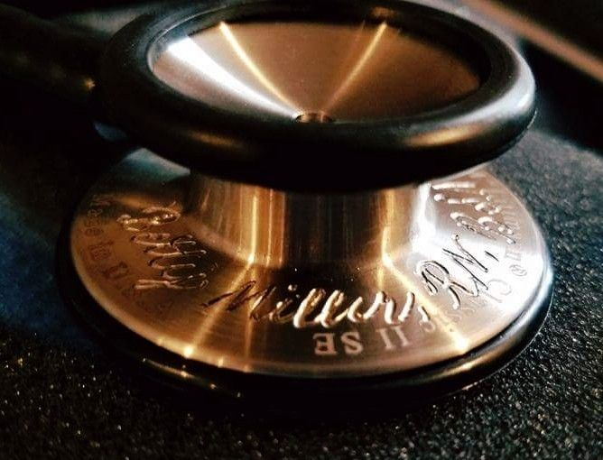 Stethoscope engraved for a special client. She's a school nurse and wanted her stethoscope personalized.