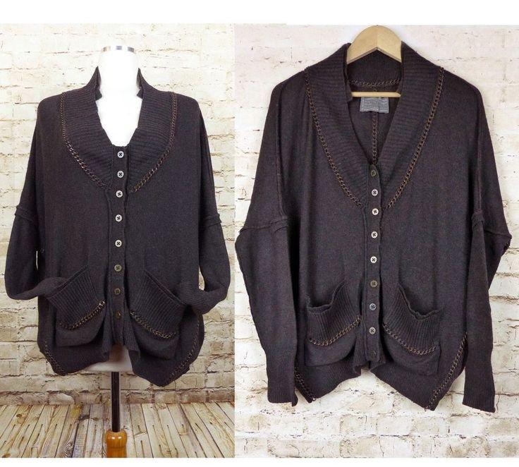 All Saints Spitalfields Brown Raziel Chain Buttoned Cardigan 12UK 8US Wool Blend #AllSaintsSpitalfields #Cardigan #Casual