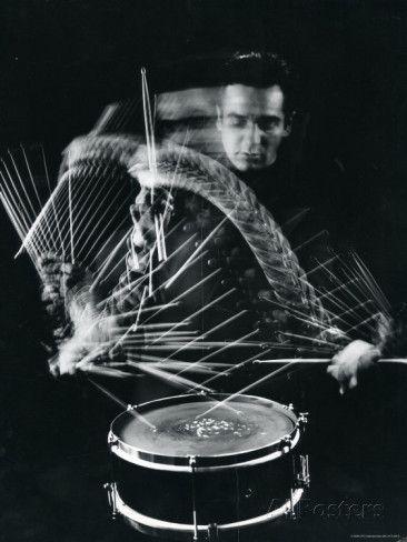 Drummer Gene Krupa Playing Drum at Gjon Mili's Studio Premium Photographic Print by Gjon Mili