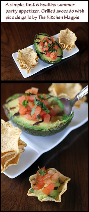 Grilled avocados filled with salsa, served with tortilla chips. Easy summer appetizer! #food #recipes #healthy #summer