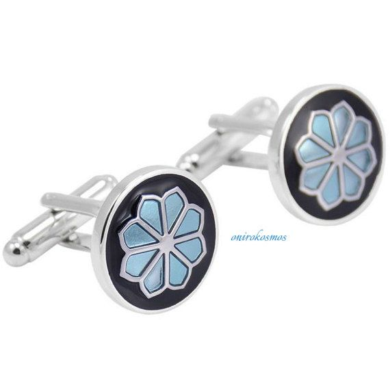 Stainless Steel Round Blue Hand Enameled Galsang Flower Shirt Suit Cufflinks.