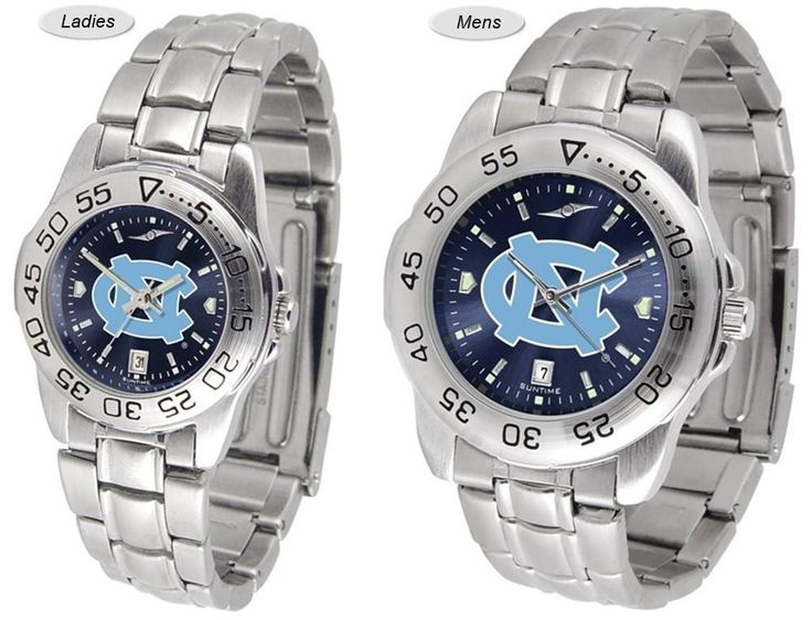 The Sport Steel AnoChrome North Carolina Tar Heels Watch is available in Mens or Ladies styles. Showcases the team logo. Stainless Steel band. Ships Free. Visit SportsFansPlus.com for Details.