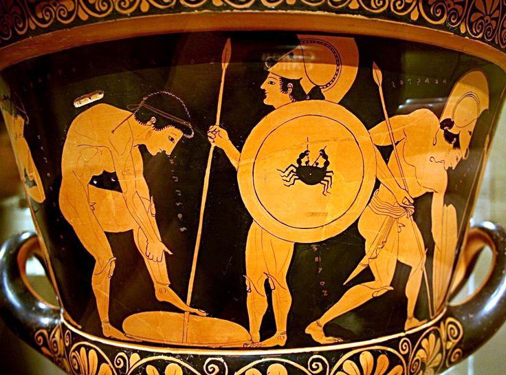Cratere di Eufronio, ceramica, ca 515 a. C. ceramica a figure rosse. Provenienza sconosciuta; Museo Nazionale di Villa Giulia, Roma.