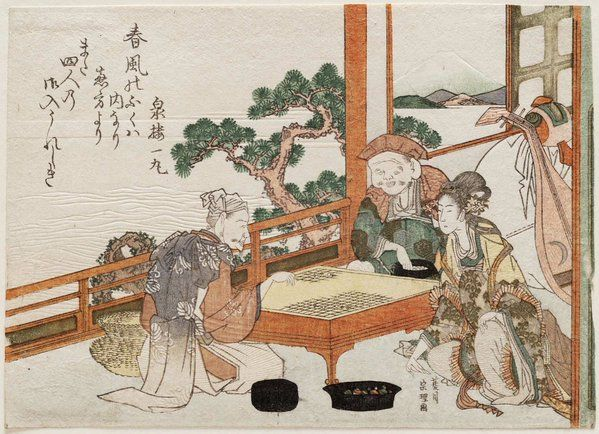 Ukiyo-e print by Hishikawa Sôri: Gods of good fortune playing #go #igo #baduk #weiqi