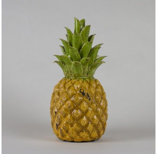 Authentic medium Pineapple - $50.95. Tropical, decadent and so authentic. These DWBH ceramic pineapples are the perfect tropical decorator item