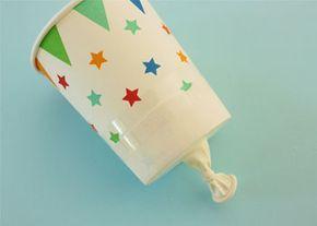 Confetti knaller van wegwerpbeker en ballon. #feest #confetti #oudennieuw #knutselen