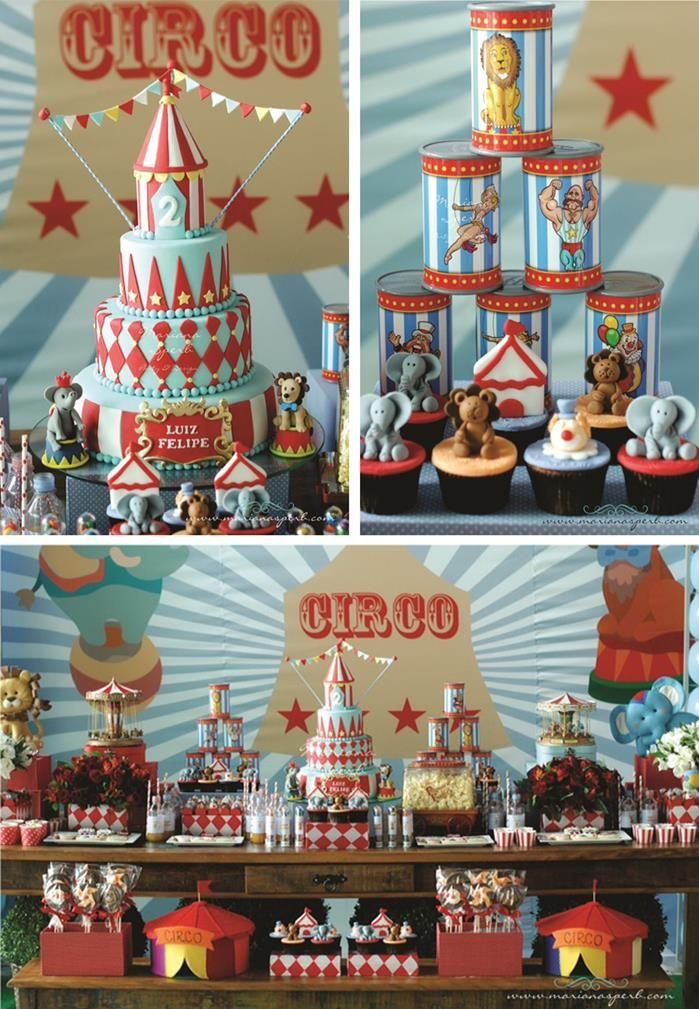 Ideas para amar #Torta y fiesta temática de #circo. Podes ver más temáticas en: http://www.wonkis.com.ar/2013/11/tortas-infantiles-collage-de-ideas/