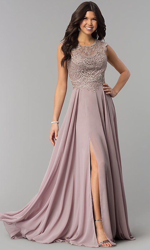 3c49fd9aaaa Embroidered Long Chiffon Mauve Prom Dress in 2019