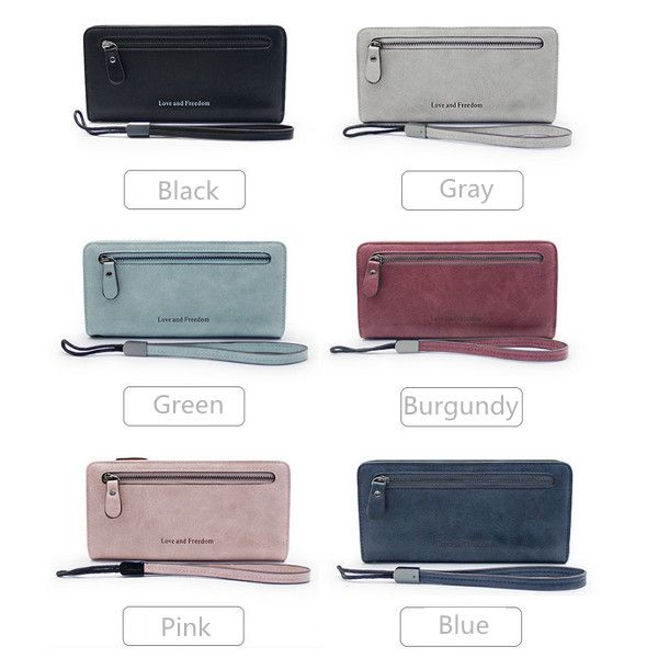Women Zipper Long Wallet Retro Card Holder Clutches Bags Coin Bags 5.5'' Phone Purse For Iphone 7P