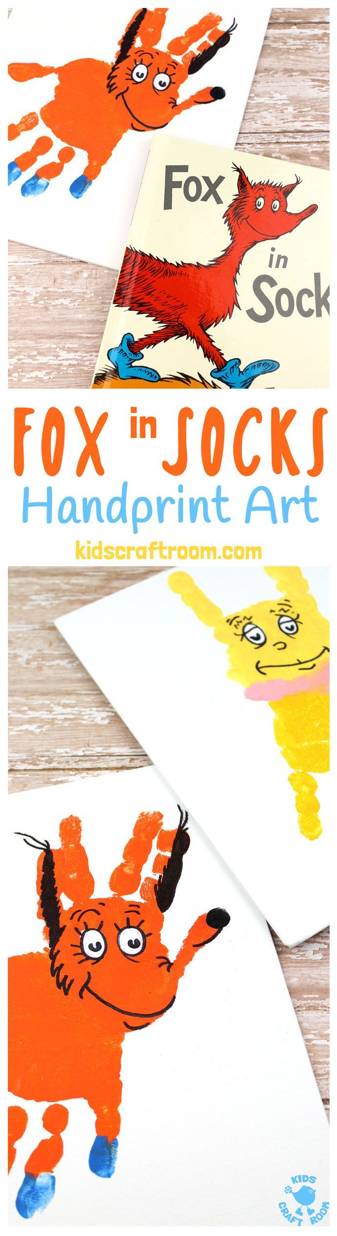 FOX IN SOCKS HANDPRINT CRAFT - Decorate your bedroom, classroom or reading nook with this super fun handprint art. Make the terrific tongue twister master, Fox In Socks and the tongue tied Knox! Both are easy to make and adorable. A great way to celebrate World Book Day and Dr Seuss' birthday