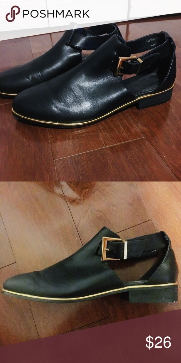 Black and Gold Ankle Boot Size 10. Worn once in doors. Still has tags on  bottom. Runs small. ASOS Shoes Ankle Boots & Booties