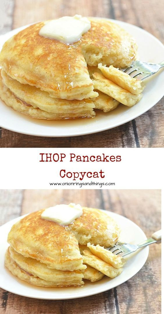 IHOP Pancakes Copycat Recipe via Onion Rings & Things - Plump and pillowy, these IHOP pancakes copycat are just as tasty and delicious as what you'd find in the restaurant yet cost a fraction of the price. The recipe can easily to doubled to feed a large crowd or large appetites.