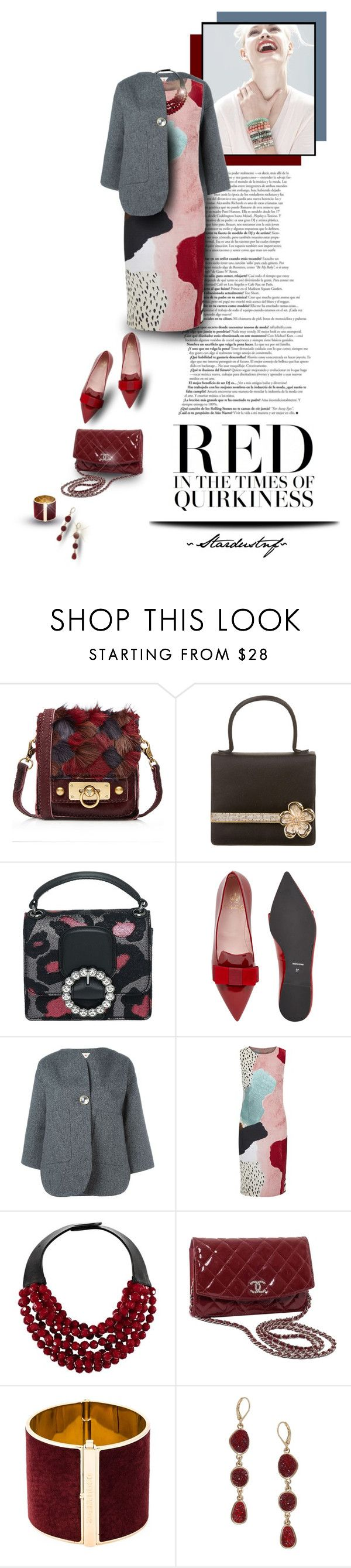 """""""Red in the Times of Quirkiness"""" by stardustnf ❤ liked on Polyvore featuring GINTA, Anna Sui, Judith Leiber, Marc by Marc Jacobs, Pretty Ballerinas, Marni, Trilogy, philosophy, Fairchild Baldwin and Chanel"""