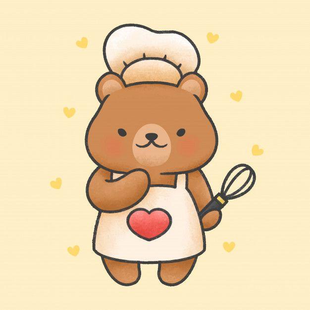 Cute Bear Cooking Cartoon Hand Drawn Style Cute Bear Drawings Cute Doodles Cute Cartoon Drawings