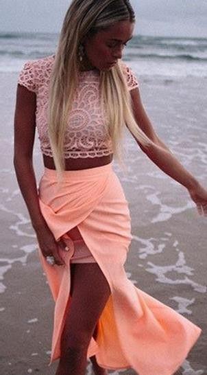 Scoop Lace Crop Top Bodycon Split Long Dress Suit