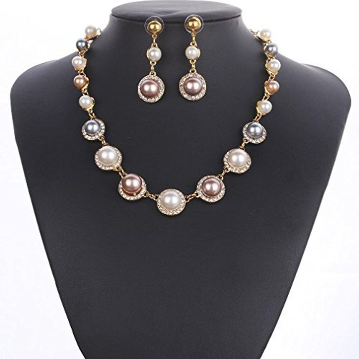 HongHu Women's Color Pearl Pendant Stud Gold Plated Collars Necklace by HongHu -- Awesome products selected by Anna Churchill