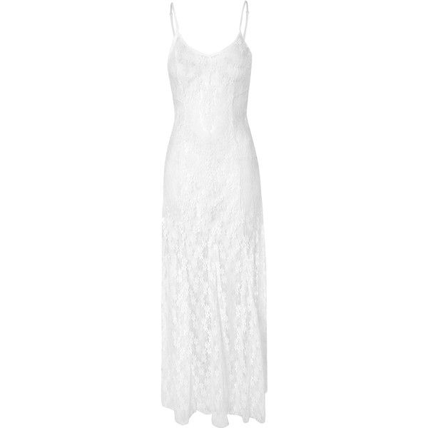 White Maxi Dress with Lace Detailing AS WORN BY DAISY LOWE (£38) ❤ liked on Polyvore featuring dresses, white, lace maxi dress, summer maxi dresses, white summer dresses, going out dresses e holiday party dresses