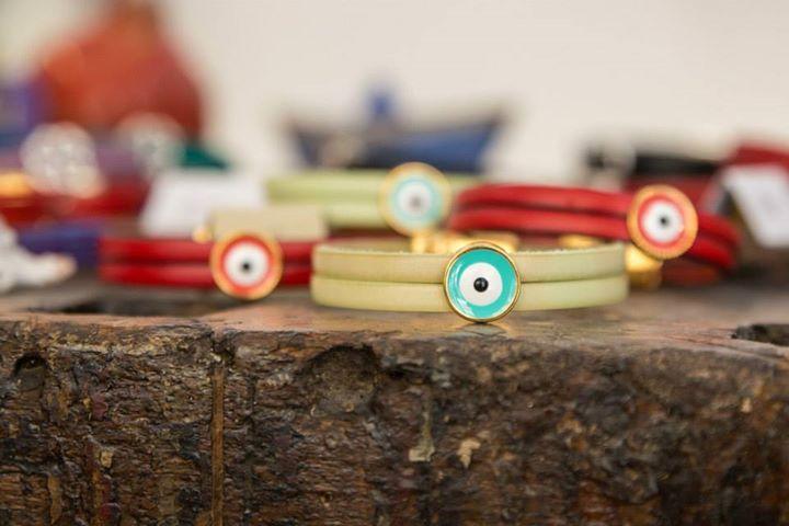 Leather bracelets with a greek eye