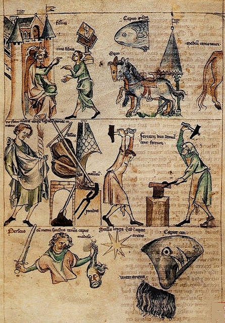 Blacksmiths. colored drawing. Netherlands 14th cent. Sloane 3983. BL1300 S, 1300S
