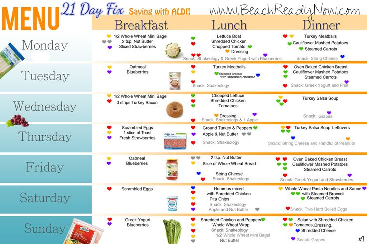 ALDI 21 Day Fix Menu Plan - feed two people for under $100 per week