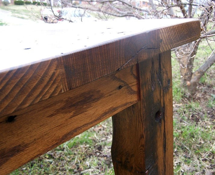 Wormy Chestnut Thick Plank Farm Table Bunkhouse Style. $1,495.00, via Etsy.