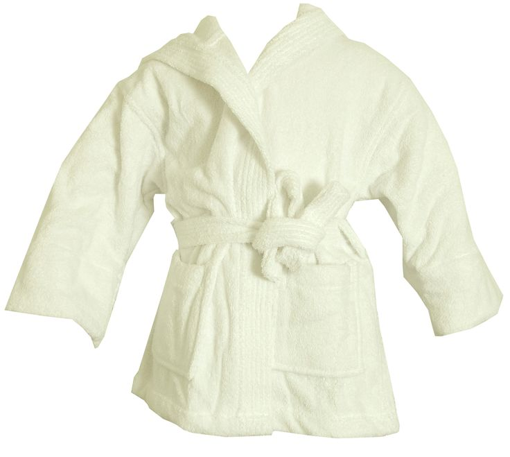 Turkish Kids Hooded Terrycloth White Robe #bathrobeshoppe www.bathrobeshoppe.com
